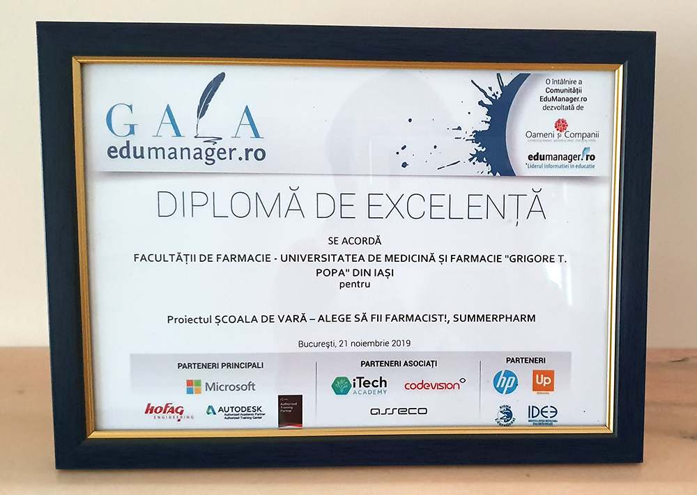 """Premiu de excelență pentru proiectul """"Alege să fii farmacist – Summerpharm"""""""