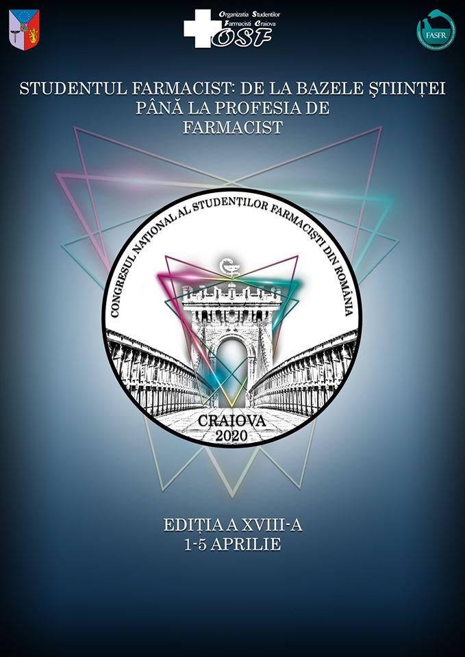 Congresul Național al Studenților Farmaciști din România va avea loc la Craiova în perioada 1-5 aprilie 2020