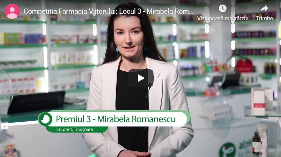 """Mirabela Romanescu, câștigătoarea premiului al treilea în Competiția Farmacia Viitorului: """"Sper să se dezvolte frumos în viitor acest proiect și să se bucure de el cât mai mulți sudenți"""""""